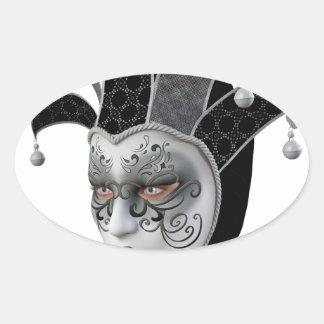 Máscara veneciana negra de Carnivale en perfil Pegatina Ovalada