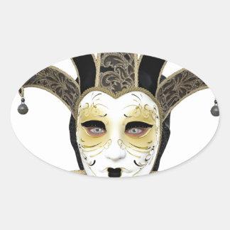 Máscara veneciana recta de Carnivale del oro negro Pegatina Ovalada