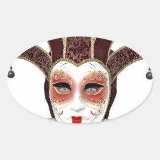 Máscara veneciana roja de Carnivale Pegatina Ovalada