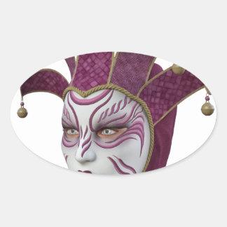 Máscara veneciana rosada de Carnivale en perfil Pegatina Ovalada
