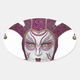 Máscara veneciana rosada de Carnivale Pegatina Ovalada