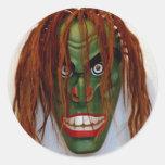 Máscara verde pegatinas redondas