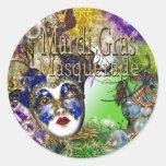 Máscara verde púrpura de la mascarada del cumpleañ pegatina