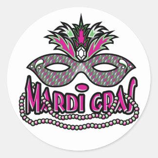 Máscara y gotas del carnaval etiqueta redonda