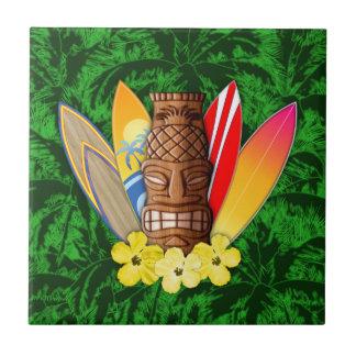 Máscara y tablas hawaianas de Tiki Azulejo Cuadrado Pequeño