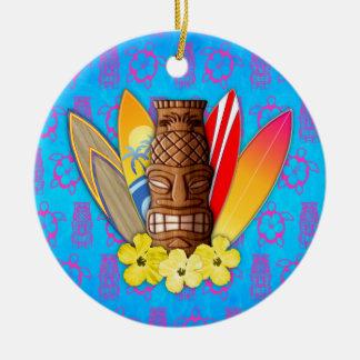 Máscara y tablas hawaianas de Tiki Ornamento Para Arbol De Navidad