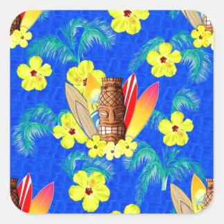 Máscara y tablas hawaianas de Tiki Pegatina Cuadrada