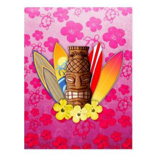 Máscara y tablas hawaianas de Tiki Postales