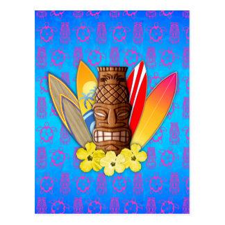 Máscara y tablas hawaianas de Tiki Tarjetas Postales