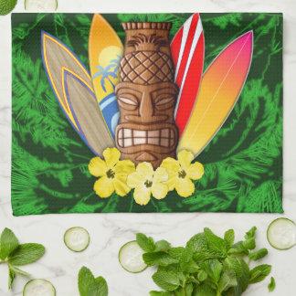 Máscara y tablas hawaianas de Tiki Toallas De Cocina
