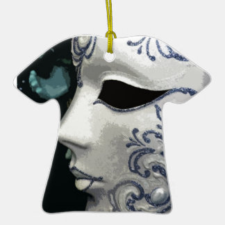 MASCARADA 2 (azul) Adorno De Cerámica En Forma De Camiseta