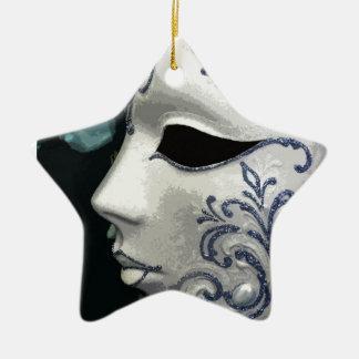 MASCARADA 2 (azul) Adorno De Cerámica En Forma De Estrella