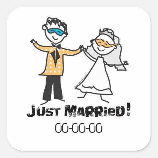 Mascarada apenas casada pegatina cuadrada
