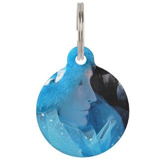 Mascarada azul de Carnivale Placas Para Mascotas
