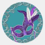 Mascarada azul y púrpura del trullo pegatina redonda