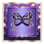 Mascarada brillante púrpura elegante de Bokeh de Invitacion Personalizada
