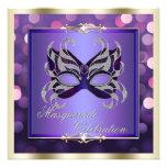 Mascarada brillante púrpura elegante de Bokeh de l Invitacion Personalizada