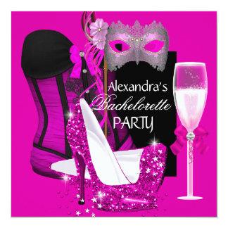 """Mascarada Champán 3 del rosa del corsé de Invitación 5.25"""" X 5.25"""""""