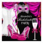 Mascarada Champán del rosa del corsé de Bacheloret Invitación Personalizada