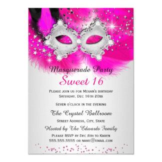 """Mascarada de la plata de las rosas fuertes de la invitación 4.5"""" x 6.25"""""""