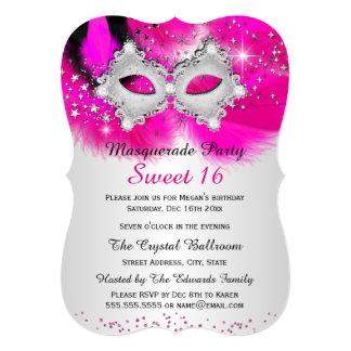 """Mascarada de la plata de las rosas fuertes de la invitación 5"""" x 7"""""""