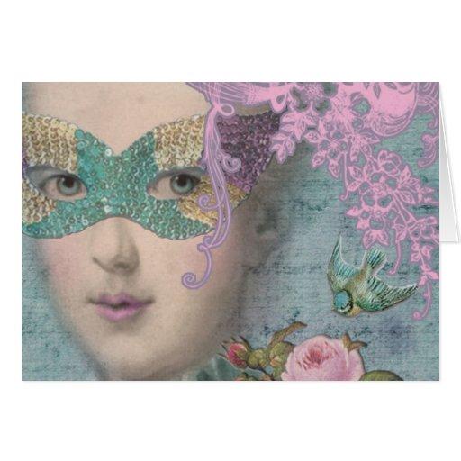 Mascarada de Marie AntoinetteFrench Tarjeta Pequeña