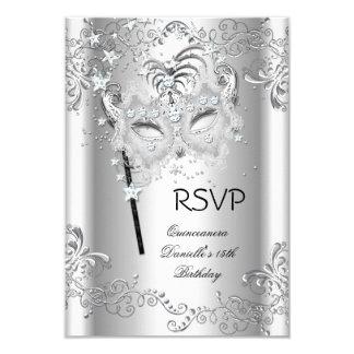 Mascarada de plata del cumpleaños de RSVP Invitación 8,9 X 12,7 Cm