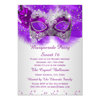 """Mascarada de plata púrpura de la máscara del invitación 5"""" x 7"""""""