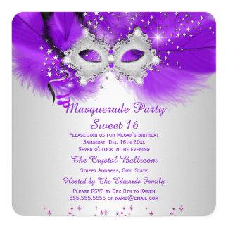 """Mascarada de plata púrpura de la máscara del invitación 5.25"""" x 5.25"""""""