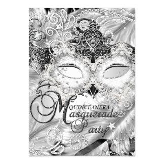 """Mascarada de plata Quinceanera de la máscara de la Invitación 5"""" X 7"""""""
