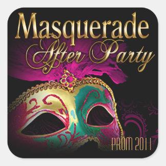 Mascarada del baile de fin de curso 2011 después pegatina cuadrada