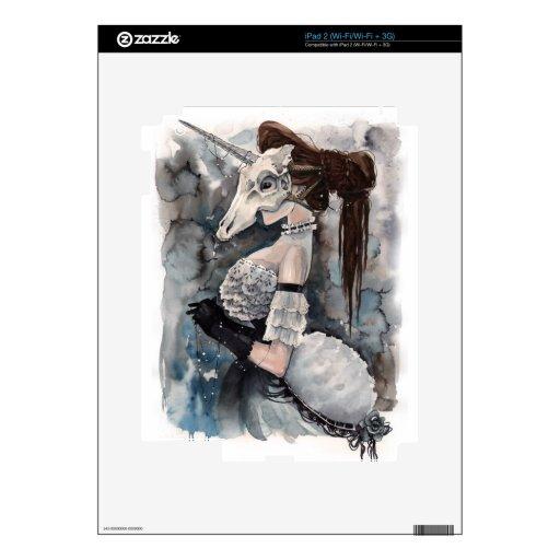 Mascarada del cráneo del unicornio iPad 2 calcomanía