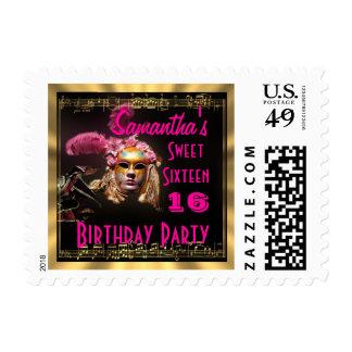 Mascarada del dulce dieciséis sello postal