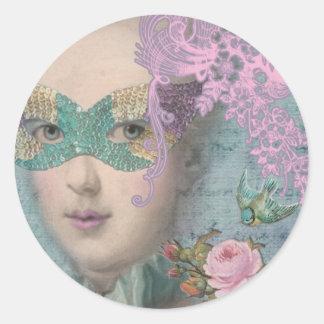 Mascarada del francés de MARIE ANTONIETA Pegatina Redonda