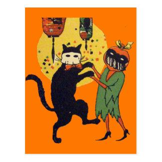 Mascarada del gato y de la calabaza tarjetas postales