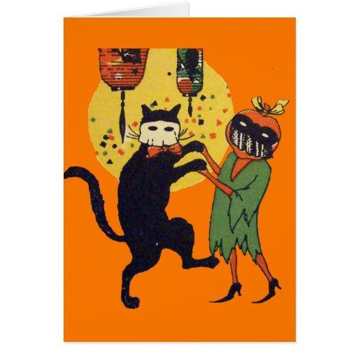 Mascarada del gato y de la calabaza tarjeton