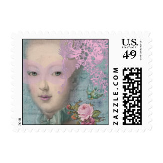 Mascarada en pálido - rosa sellos postales