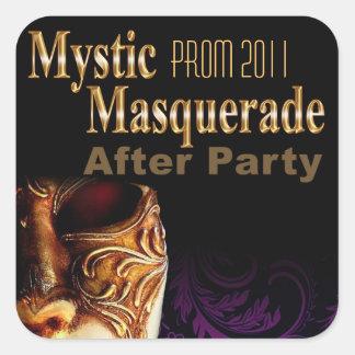 Mascarada mística del baile de fin de curso 2011 pegatina cuadrada