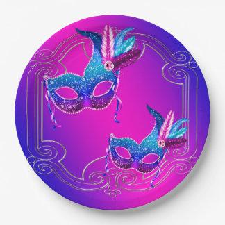 Mascarada púrpura rosada del trullo platos de papel