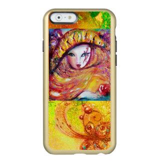 MASCARADA VENECIANA - MÁSCARA EN AMARILLO FUNDA PARA iPhone 6 PLUS INCIPIO FEATHER SHINE