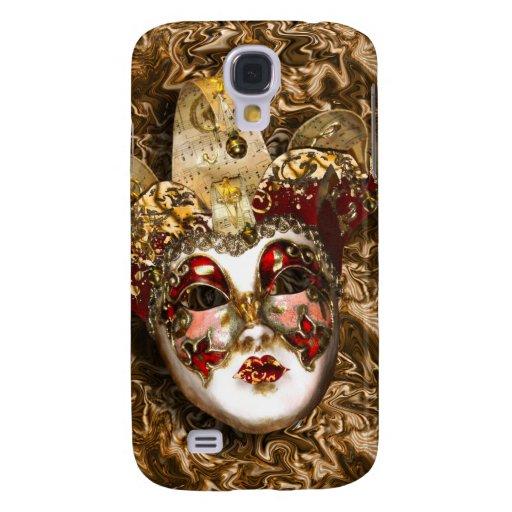 Mascarada veneciana roja del oro de la máscara