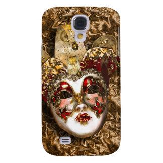 Mascarada veneciana roja del oro de la máscara funda para galaxy s4