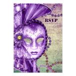 Mascarada verde púrpura RSVP de la máscara de las  Comunicado Personalizado