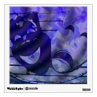 máscaras azules del teatro vinilo adhesivo