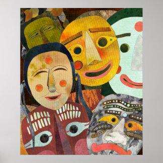 Máscaras coreanas tradicionales impresiones
