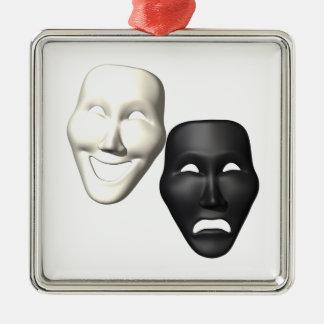 Máscaras de la tragedia de la comedia adorno navideño cuadrado de metal