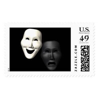 Máscaras de la tragedia de la comedia estampilla