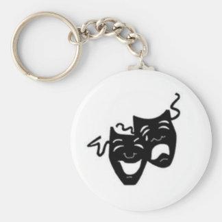 Máscaras de la tragedia de la comedia llavero redondo tipo pin
