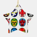 Máscaras de lucha mexicanas de Lucha Libre Adorno Navideño De Cerámica En Forma De Estrella
