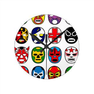 Máscaras de lucha mexicanas de Lucha Libre Luchado Reloj De Pared